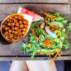 Fried Chickpeas and Watermeon Avocado Salad